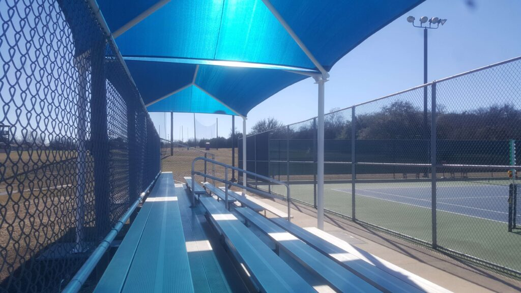 Side court seats with shade