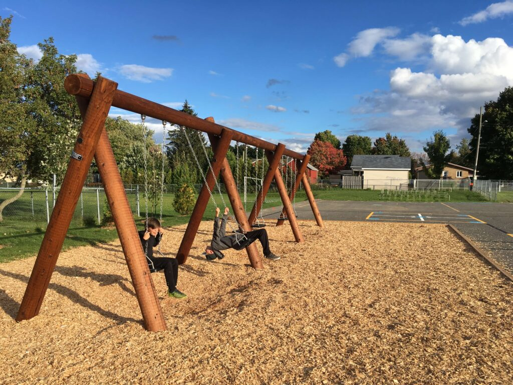 Log swing with children